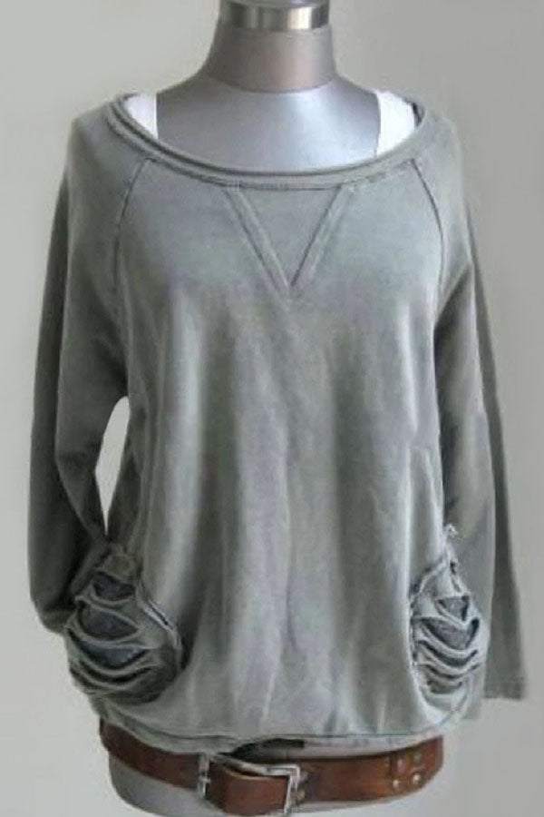 Round Neck Long Sleeves Distressed Top T-shirt