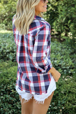 Plaid Paneled Buttons Down Tassel Casual Blouses