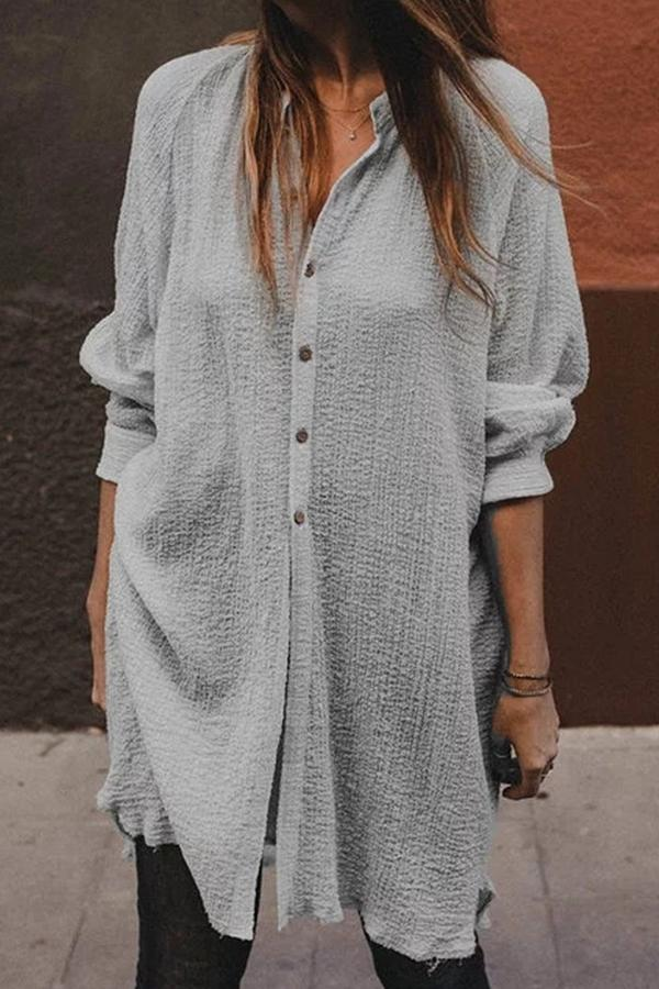 Casual Solid Button Down Shirt Dress - Regocy