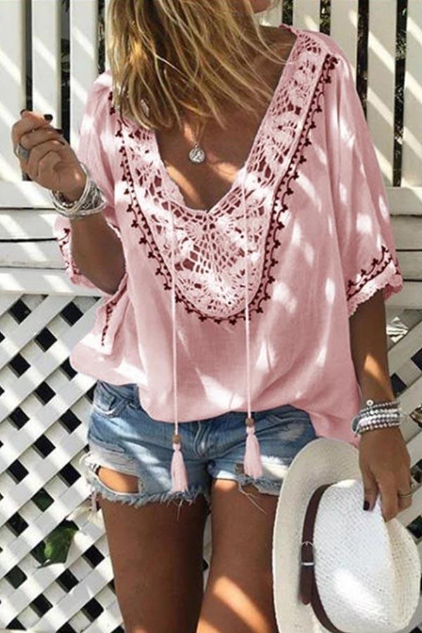 Paneled Lace Embroidery Cutout Casual T-shirts