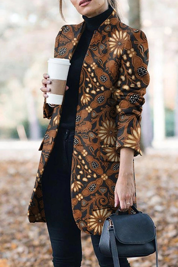 Casual Floral Printed Long Sleeves Blazer