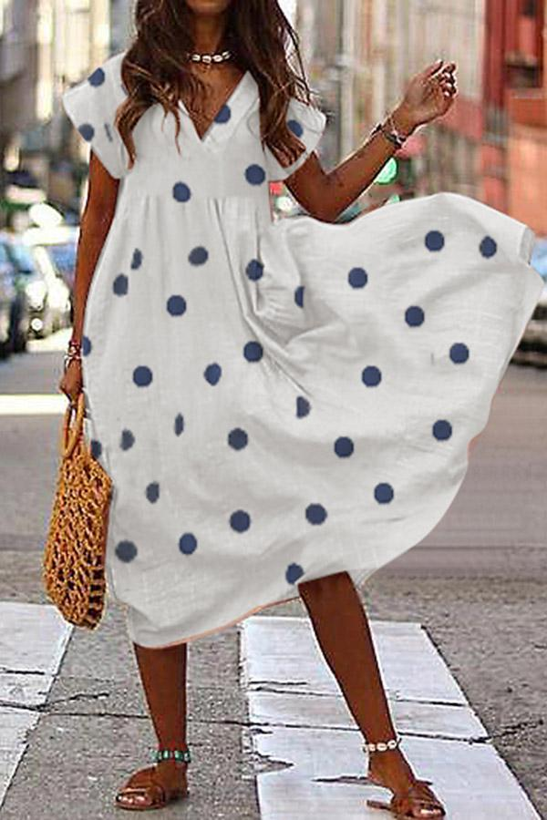 Polka Dot V-neck Loose Linen Midi Dress - Regocy
