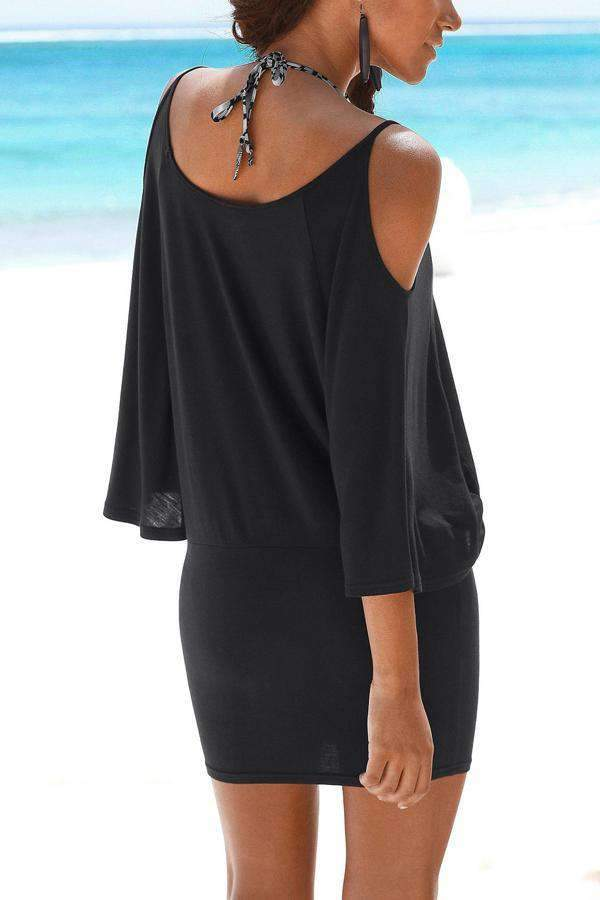 Cold Shoulder Bat Sleeves Sexy Mini Dress - Regocy