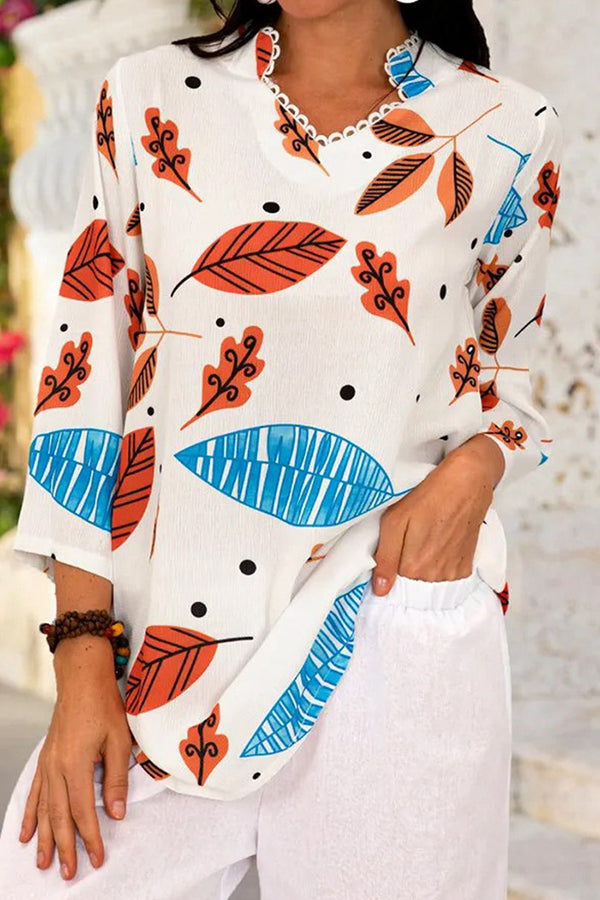 Casual Leaf Print Paneled 3/4 Sleeves V-neck Blouse