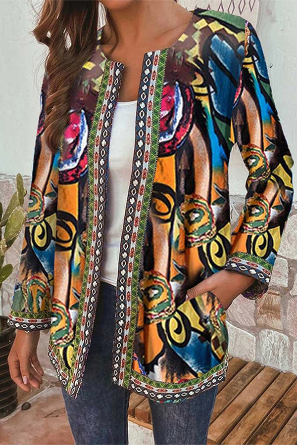 Abstract Print Vintage Paneled Side Pockets Open Front Outwear