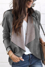 Lapel Solid Long Sleeves Coat
