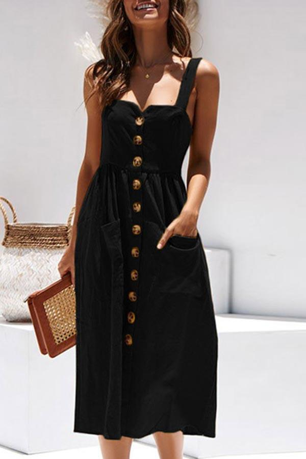 Holiday Solid Buttons Down Paneled Pleated Slit Midi Dress