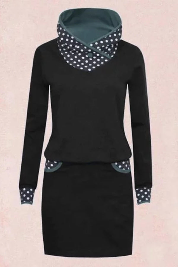 Long Sleeves Polka Dots Midi Dress