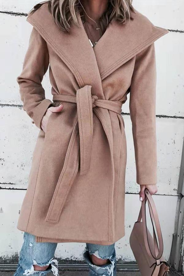 Self Tie Lapel Long Sleeves Coat