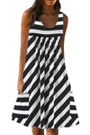 Paneled Striped Print Sleeveless Casual Midi Dress