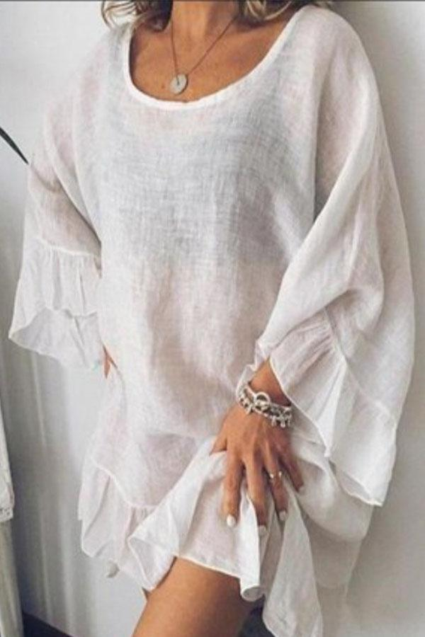 Linen Ruffle Sleeves Loose Casual Blouse - Regocy