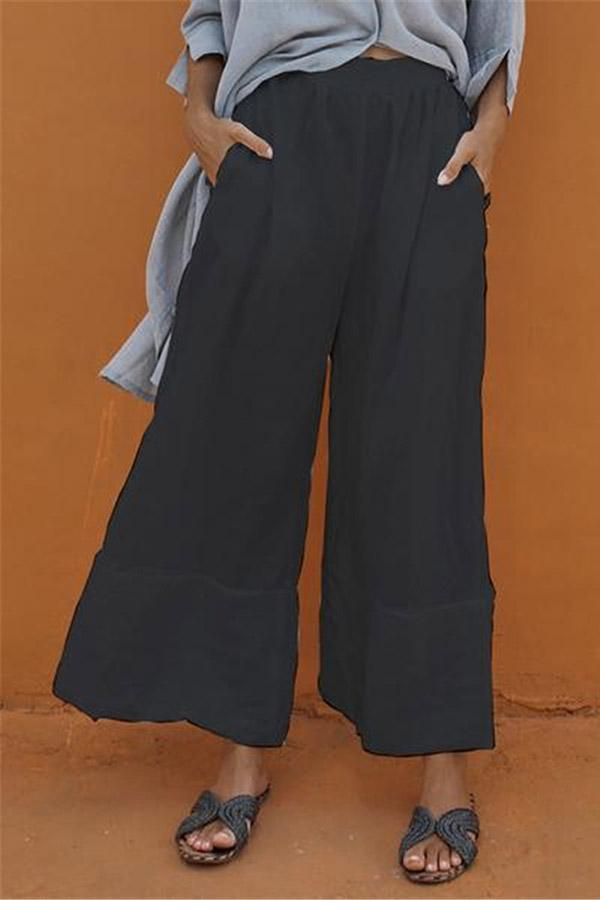 Side Pockets High Waist Solid Casual Linen Pants - Regocy