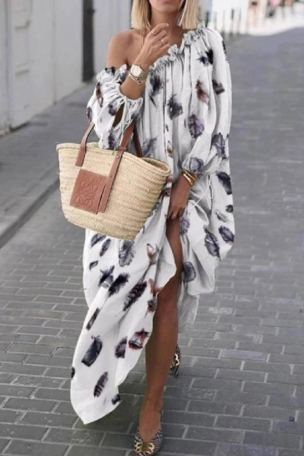 Printed One Shoulder Color-block Maxi Dress - Regocy