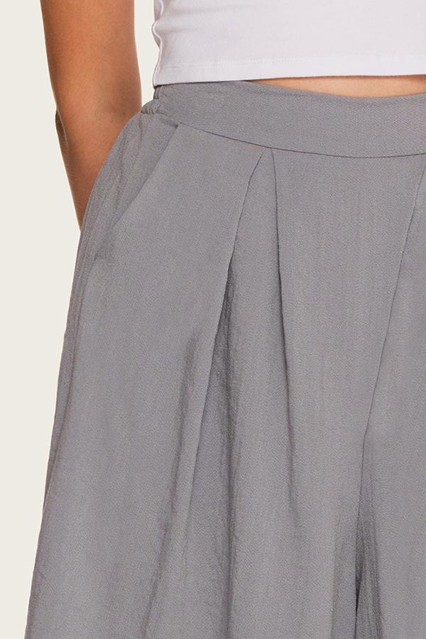 Solid Casual Pockets Wide Leg Short Pants