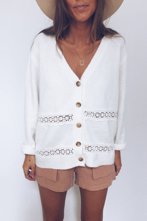 V Neck Hollow Out Button Coat