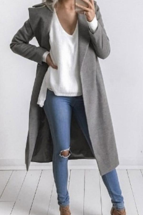 Elegant Lapel Solid Cotton Long Coat