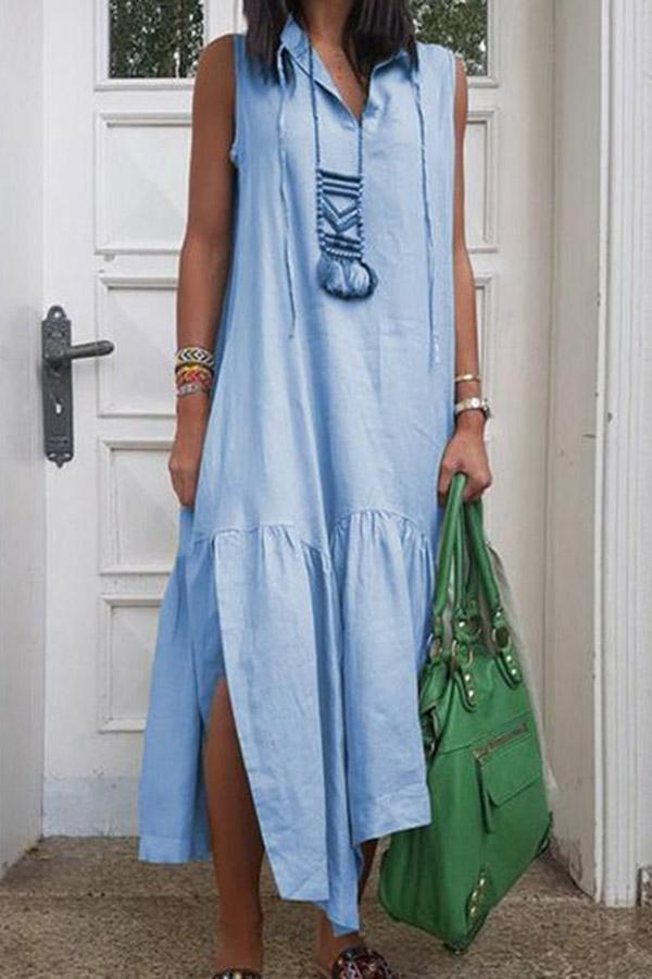 Vintage Linen Slit Side Irregular Maxi Dress - Regocy