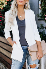 Casual Solid Side Pockets Cardigans Suit Coat
