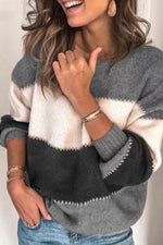 Colorblock Print Pullover Knitted Sweater