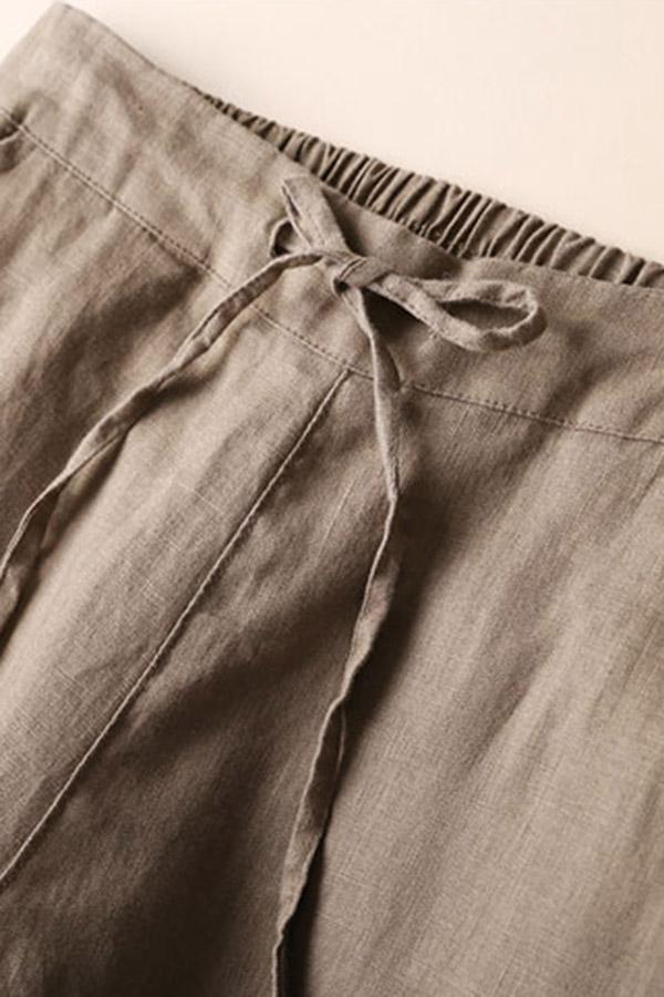 Self-tie Linen Solid Side Pockets Pants - Regocy