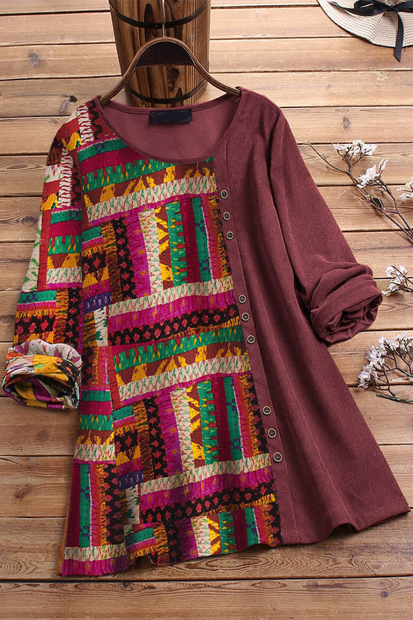 Retro Ethnic Striped Graphic Print Color-block Buttoned Blouse