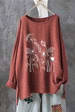 Casual Long Sleeves Floral Linen T Shirt - Regocy