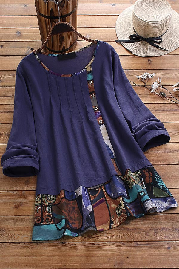Casual Round Neck Print Long Sleeves Tops