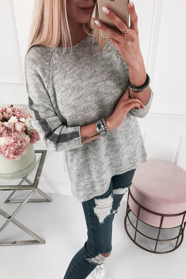 Casual Knitted Crew Neck Raglan Sleeve Jumper