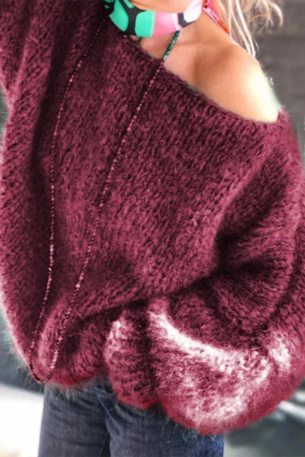 Oversize Knitted Plush One Shoulder Sweater