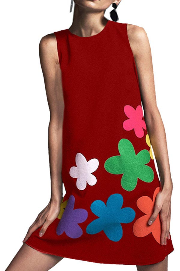 Bohemian Floral Sleeveless Holiday Mini Dress