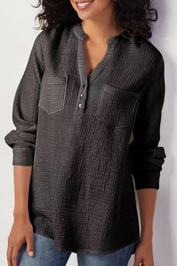 Women Basics Pockets Design Linen Blouse - Regocy