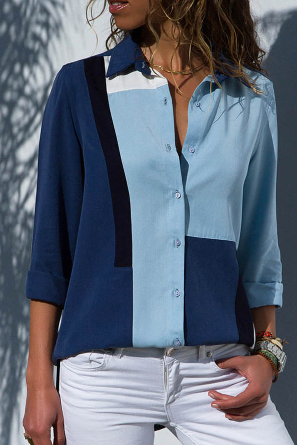 Casual Color-block Buttons Down Shirt Collar Chiffon Blouse