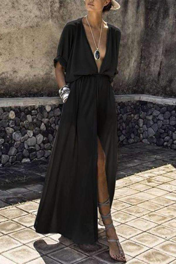 V-Neck Elastic Waist Plain Maxi Dress - Regocy