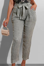 Solid Casual Buttoned Self-tie Pockets Folds Pants