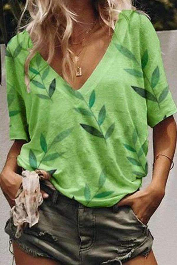 Leaf Print V-neck Casual T-shirt - Regocy
