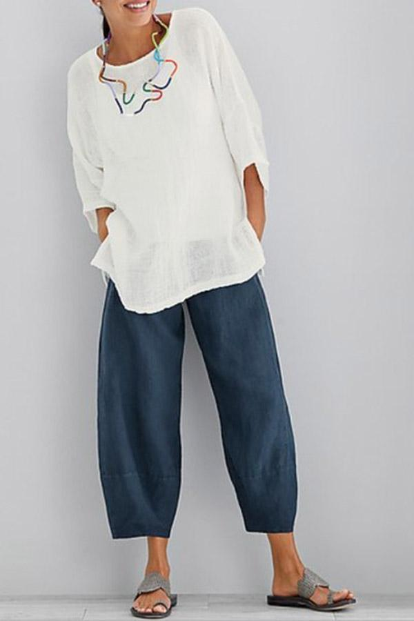 Solid Casual Linen Side Pockets Pants - Regocy