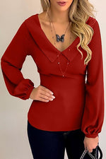 Solid V Neck Sheath Casual Blouse