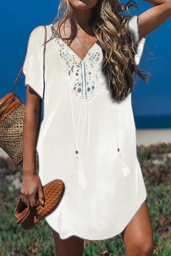 Holiday Beaches Mini Dress Bikini Cover Up Dress - Regocy