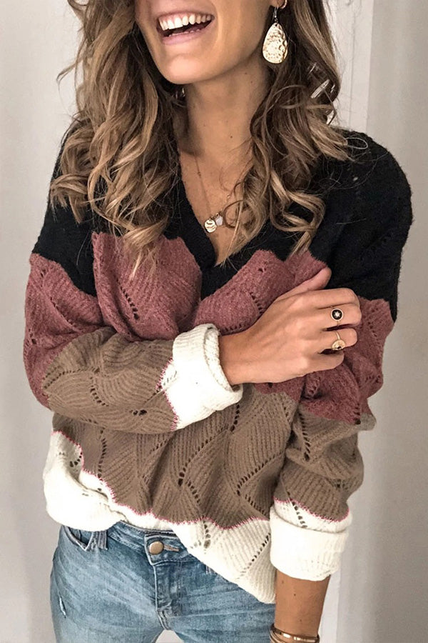 Hollow Out Knitted Long Sleeves Sweater