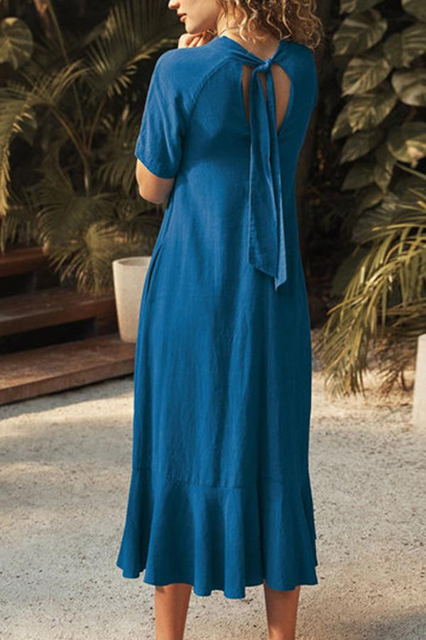 V Neck Backless Tie Up Linen Midi Dress - Regocy