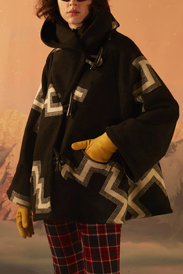 Holiday Outerwear Geometric Jacquard Paneled Horn Buckles Hooded Coat