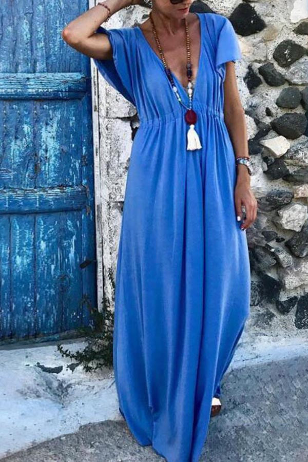 Casual V Neck Loose Solid Maxi Dress