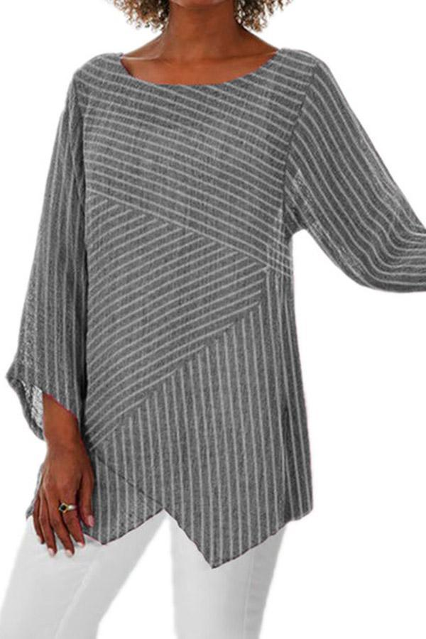 Striped Asymmetric Long Sleeves Linen Blouse - Regocy