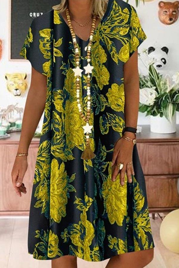 Print V-neck Short Sleeves Vintage Midi Dress