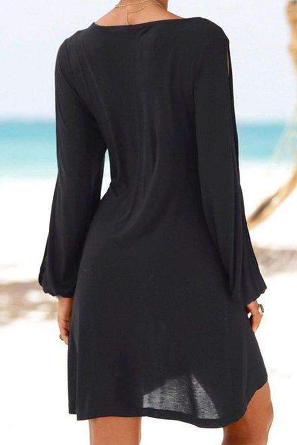 Crew Neck Black Women Summer Dresses Shift Daily Casual Plain Dresses - Regocy
