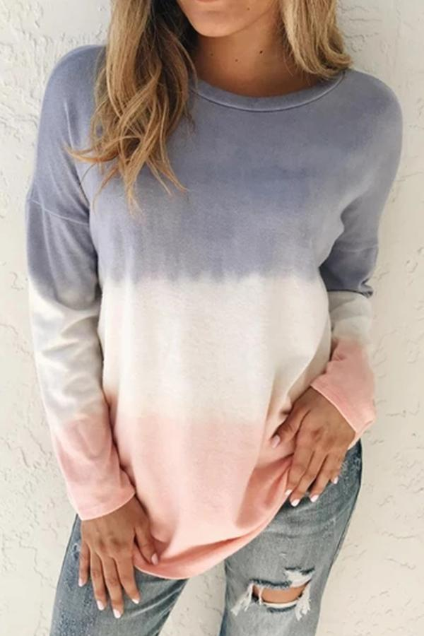 Casual Gradient Long Sleeves Crew Neck Blouse