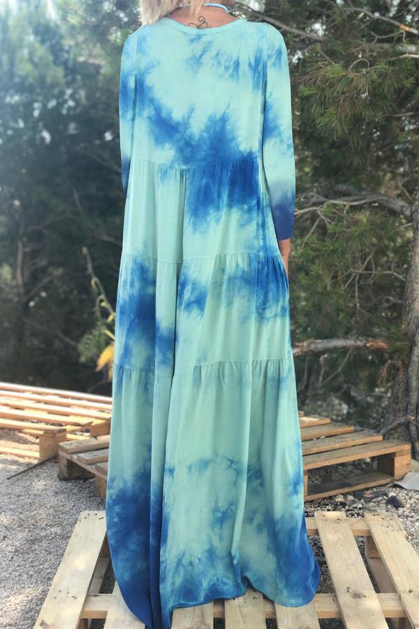 Lapel Collar Long Sleeves Tie Dye Maxi Dress - Regocy