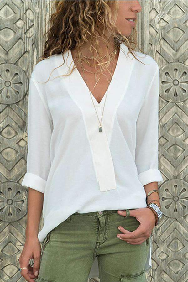 V-neck Long Sleeves Chiffon Blouse - Regocy