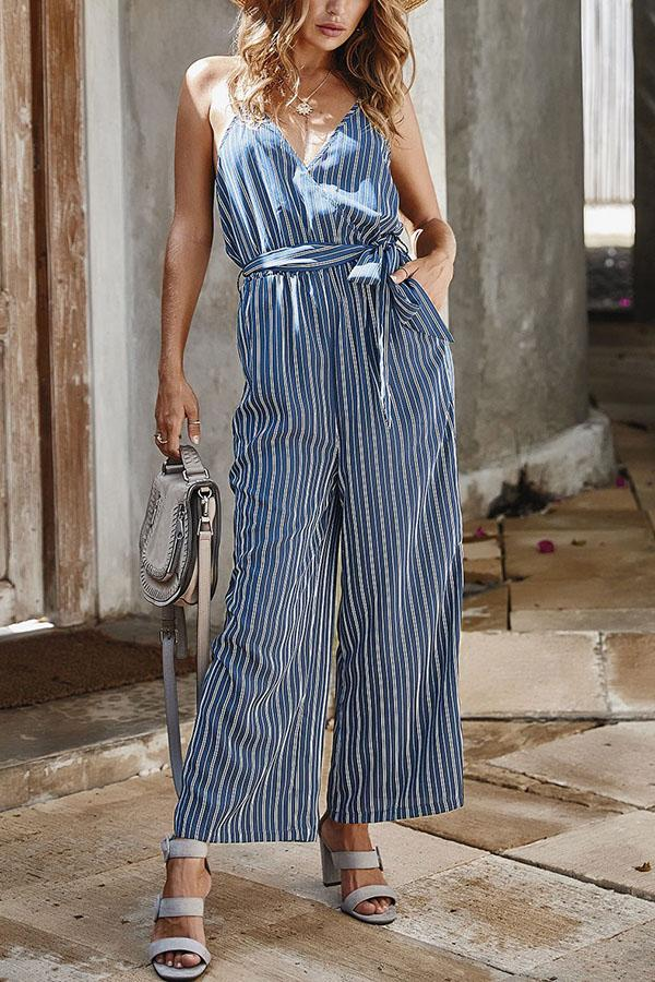 Striped Print Cross Front V-neck Holiday Spaghetti Wide Leg Jumpsuit