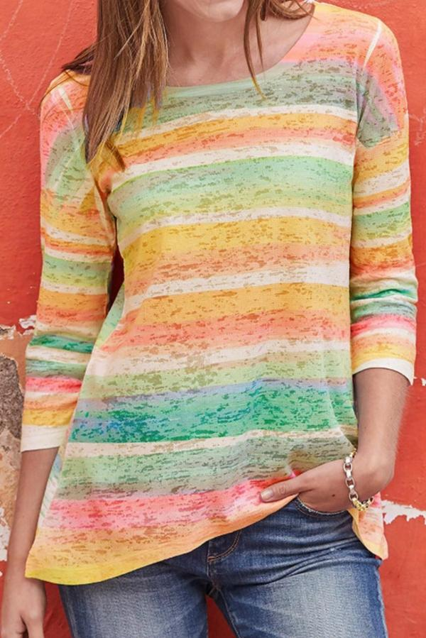 Colorful Striped 3/4 Sleeves Casual Blouse